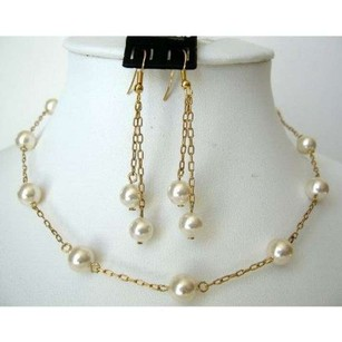 Wedding Jewelry 22k Gold Plated Swarovski Cream Pearls Handcrafted Set