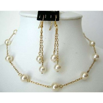 Cream Gold Plated Swarovski Pearls Handcrafted Jewelry Set