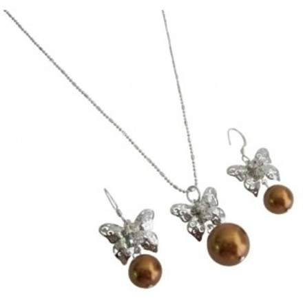Women Gift Special Occasion Butterfly Pearls Drop Jewelry Set