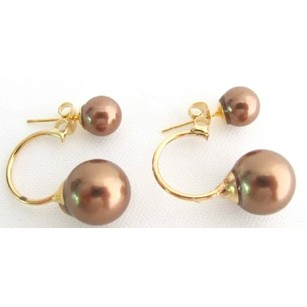 Fashion Jewelry For Everyone Double Pearl Ear Jacket Earring Beautiful Brown Color