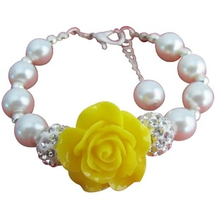 Fashion Jewelry For Everyone Happy Holidays Gift Yellow Flower White Pearl Bracelet
