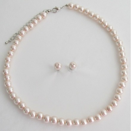 Fashion Jewelry For Everyone Pale Pink Lite Pink Blush Pink Pearl Necklace Stud Earrings Set
