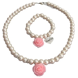 Fashion Jewelry For Everyone Rose Necklace Bracelet Wedding Jewelry Blush Pink Pearls