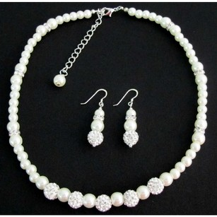 Fashion Jewelry For Everyone White Pearl Rhinestones Necklace Earrings Flower Girl Birthday Gift