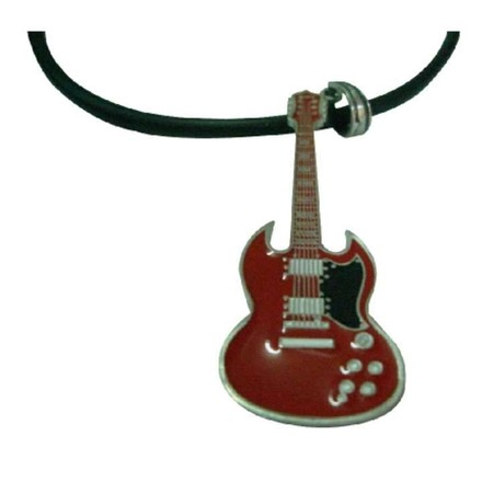 Brown Hiphop Red Guitar Pendant Necklace School Music Function Jewelry Set