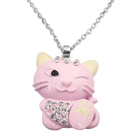 Pink Mischievous Cute Cat Pendant 1 Eye Closed Blinking Necklace Jewelry Set