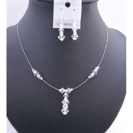 Clear White Custom Necklace Swarovski Crystals Silver Rondell Jewelry Set