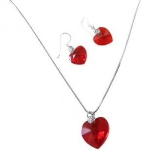 Lite Siam Red Crystals Xillion Heart Valentine Necklace & Earrings Set