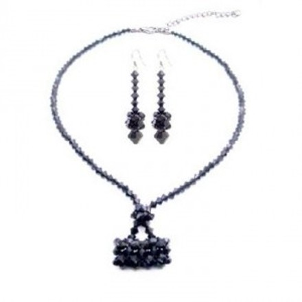 Black and Blue Jet Crystals Purse Necklace Swarovski Purse Handmade Jewelry Set