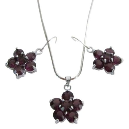 Grey Amethyst Crystals Flower Pendant Earrings Holiday Gift Great Price Jewelry Set