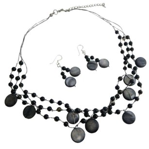 Black Shell Fancy Onyx Beads Onyx Nuggets Necklace Handcrafted Shell Jewelry Set