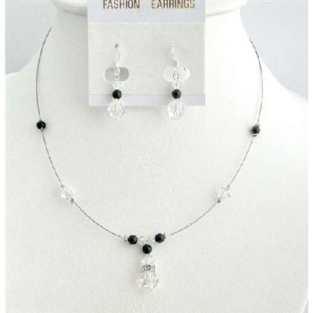 Silver Grey Customize Cheap Swarovski Pearls Crystals Black Clear Crystals Jewelry Set