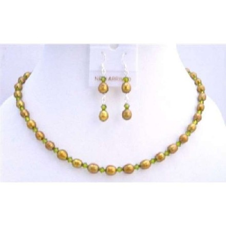 Golden Dyed Freshwater Pearls Olive Green Swarovski Crystals Handmade Jewelry Set