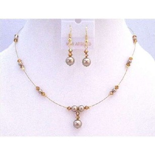 Pink Golden Wire Prom Swarovski Copper Crystals Bronze Pearls Jewelry Set