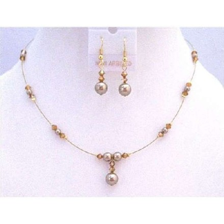 Golden Wire Prom Swarovski Copper Crystals Bronze Pearls Jewelry Set