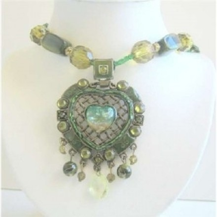 Green Multi Stranded Necklace Holding Traditional Heart Pendant Jewelry Set