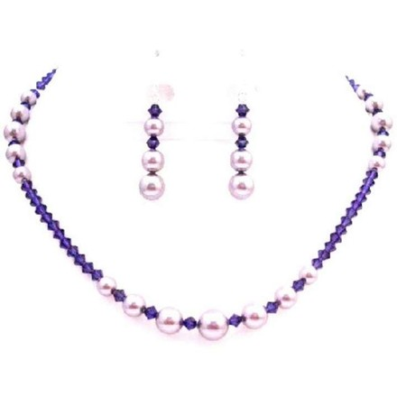 Passion Jewelry Set Swarovski Mauve Pearls Purple Velvet Crystals Set