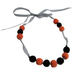 Orange Baby Children's Necklace Black Crochet Necklace Jewelry Set