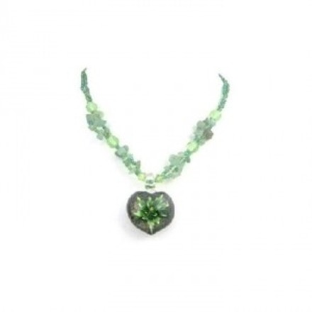 Green Jade Nugget Tiny Glass Beads Painted Pendant Delicate Necklace