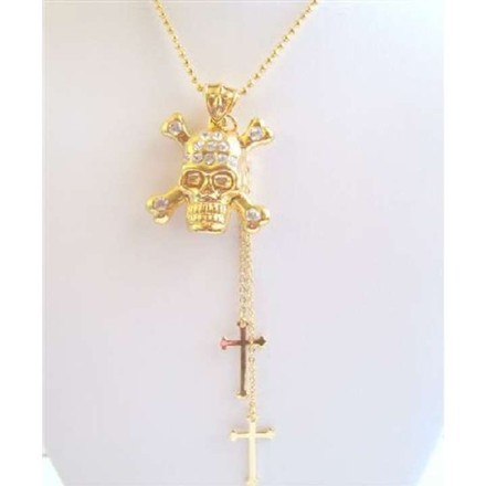 Gold Bling Skull Pendant Necklace Cross Dangling Chain Necklace Jewelry Set