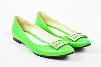Fendi Neon Leather Gold Green Flats