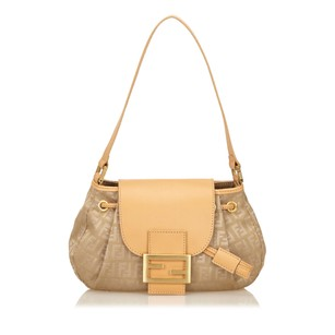 Fendi Beige Brown Fabric 6hfnsh001 Shoulder Bag