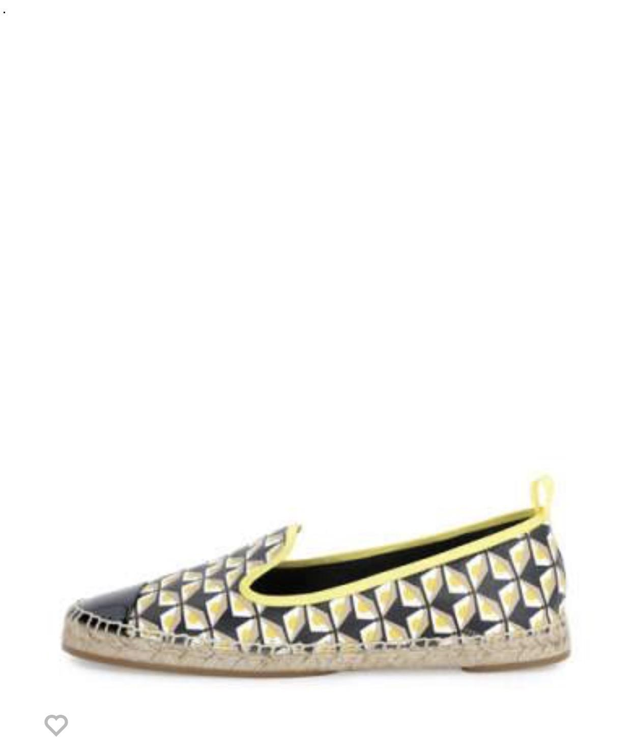Fendi Junia Printed Cap-Toe Espadrille, Black/Straw