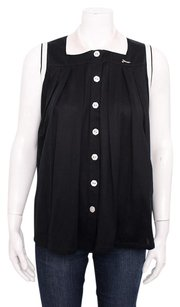 Fendi White Contrast Cotton Knit Pleat Button Down Sleeveless 642m Top Black