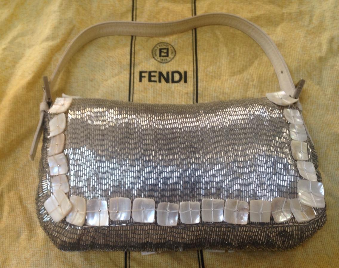 10137602293c ... best price fendi creme silver mother of pearl baguette tradesy b6f51  d0826 ...