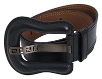 Fendi Fendi Black B Leather Wide Oversized Buckle Cut Out Monogram Waist Belt 3075s