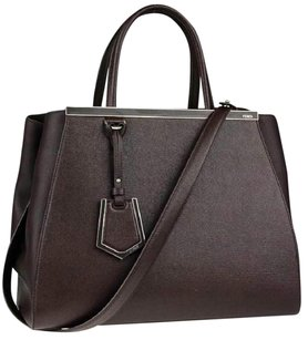 Fendi Fi.k0407.07 Pink Saffiano Vitello Leather Satchel in Caffe Noir Dark Brown