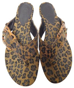 Fendi Leopard Buckle Flip Brown Sandals