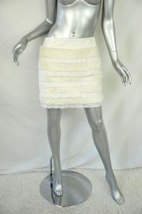 Fendi Leather Furlace Banded Short Mini Layered Mini Skirt Whites