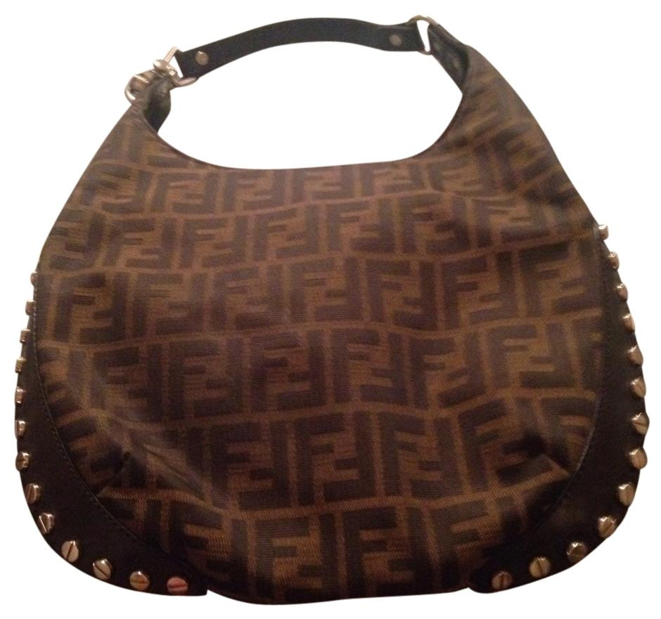 ... new zealand fendi mon monogram leather studded vintage classic hobo bag  b2038 eb733 ...
