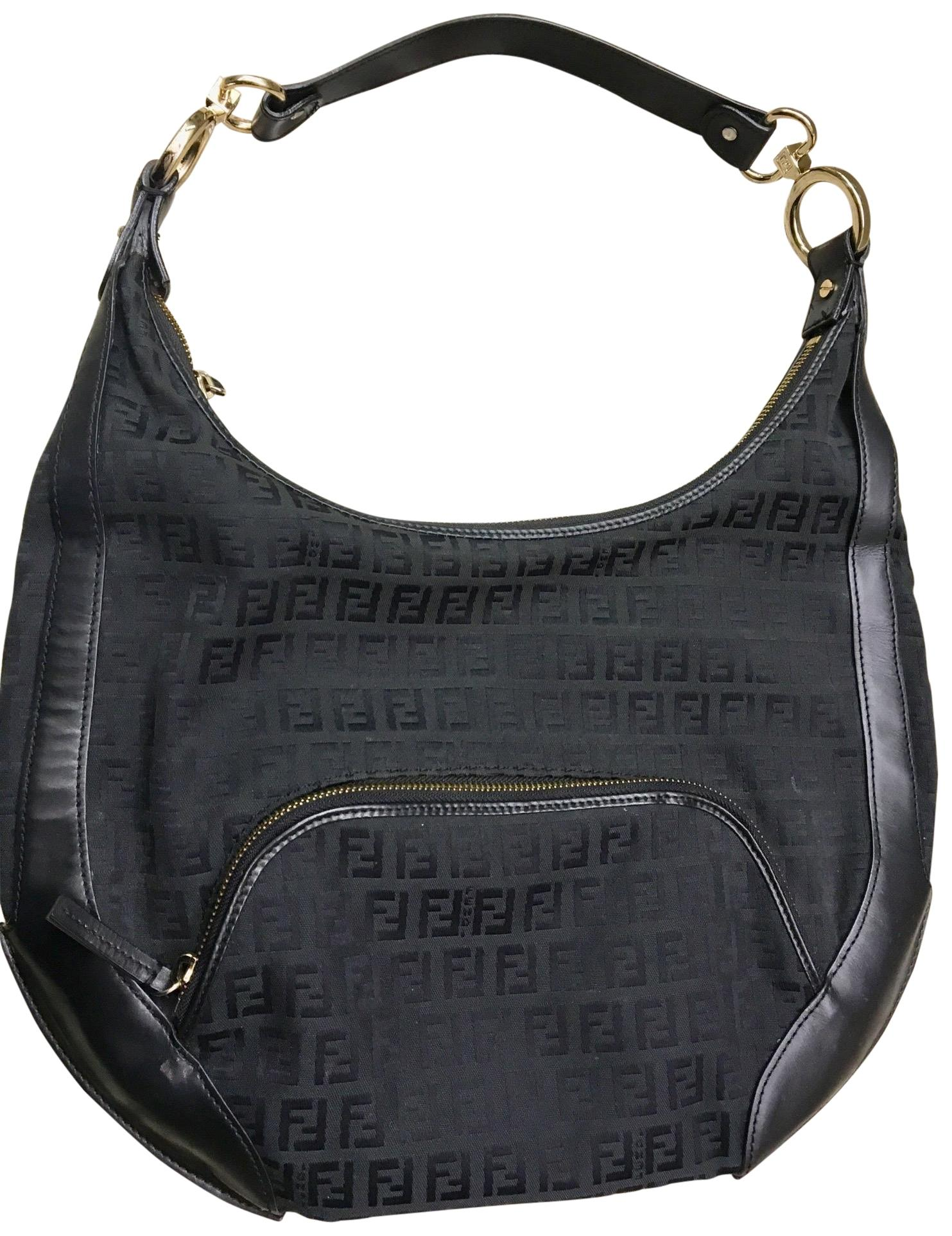 6e3d98b92c ... inexpensive fendi monogram black canvas and leather hobo bag tradesy  7ba70 dba21