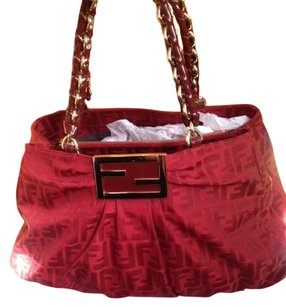 Fendi Monogram Vintage Tote in Burgundy & Gold