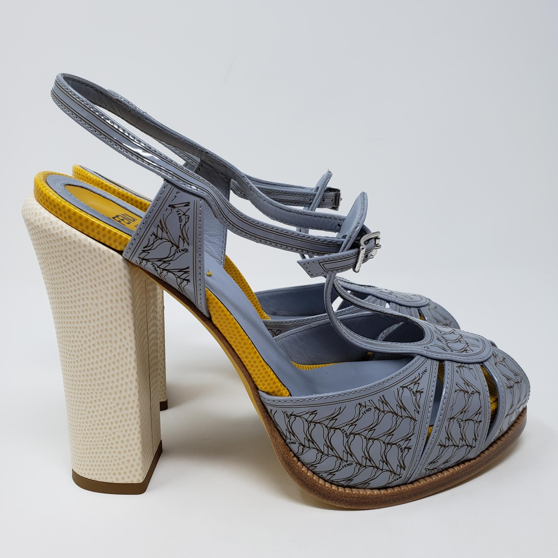 a77acffe02 ... Fendi Fendi Fendi Multicolor Blue Yellow Patent Leather Peep-toe  Platform Sandals Size EU 39 ...
