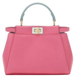 Fendi Peekaboo Mini Colorblock Tote in Pink