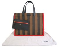 Fendi Pequin Tote in Brown/Red