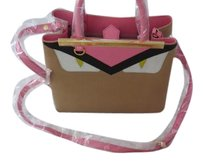 Fendi Monster Collection Sophisticated Design Made Convertible Made In Italy Tote in Tan/Pink