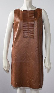 Fendi short dress Brown Perforated Leather Ruffle Front Shift Nwd Hs1691 on Tradesy