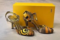 Fendi B6 Gold Multi Jacquard Peep Toe Slingbacks Heels Multi-Color Pumps