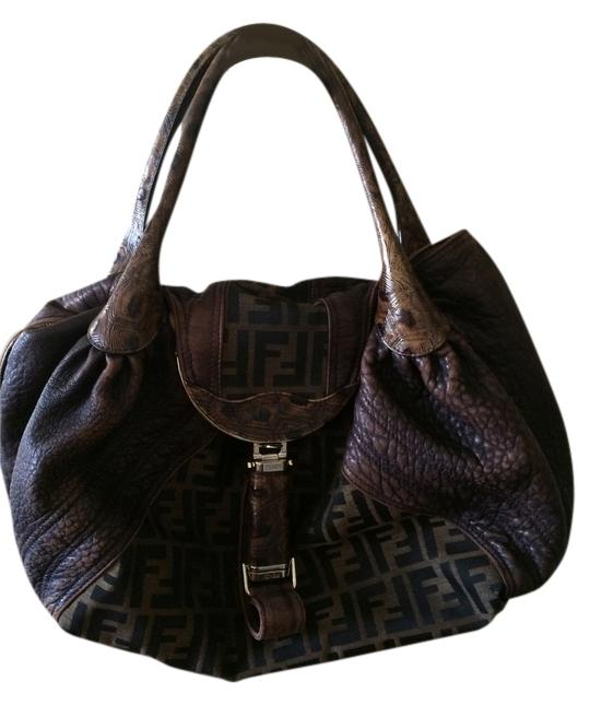 4b4f06757d ... new arrivals fendi spy zucca monogram brown leather canvas hobo bag  tradesy 77fb5 19419