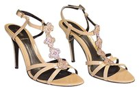 Fendi Tan Patent Leather Strappy Sandals Heels Crystal Flower Detail Brown Pumps