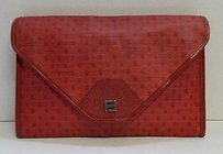 Fendi Vintage Logo Coated Canvas Leather Italy Red Clutch