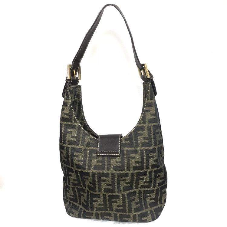 c3546061e6d8 ... norway fendi vintage zucca monogram shoulder tan black canvas leather  hobo bag tradesy d0e24 6196f ...