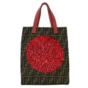 Fendi Zucca Sequins Monogram Tote in Brown and Red