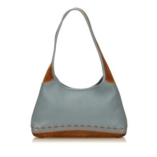 Salvatore Ferragamo Blue Brown Leather Shoulder Bag