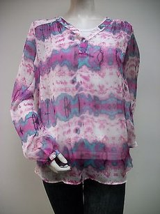 Fifteen Twenty Tie Dye Split Placket Shirred Top Multi-Color