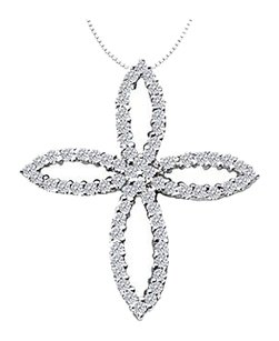 Fine Jewelry Vault 1 Carat Diamond Set in 14K White Gold Clover Leaf Design